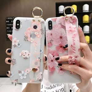 Accessories - Peach Blossom Phone Case with Wrist Strap AntiFall